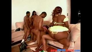 Afro American BBW Massive Gangbang