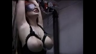 Blindfolded dirty slut tied to stairs and left in the attic
