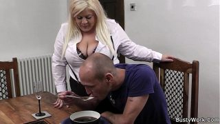 Boss bangs hot blonde bbw in stockings