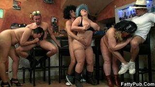 Hot group bbw orgy right in the bar