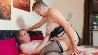 Sultry grandma gives intense blowjob in wild fuck